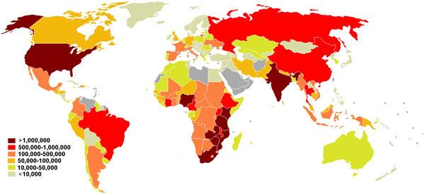 Данные ООН о распространении ВИЧ-инфицированных больных СПИДом в мире на июль 2008 года. Рис. с сайта commons.wikimedia.org